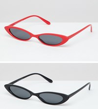 7X 2 Pack Cat Eye Sunglasses Black Red Multi
