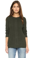 Autumn Cashmere Boyfriend Cable Crewneck Sweater Cypress