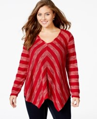 American Rag Plus Size Striped V Neck Sweater Only At Macy's Chili Pepper Combo