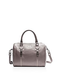 Zadig And Voltaire Sunny Small Leather Satchel Light Gray Silver