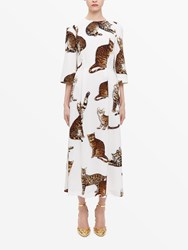 Dolce And Gabbana Cat Print White Midi Dress Neutral