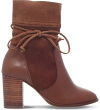 Kurt Geiger Demi Leather And Suede Ankle Boots Tan