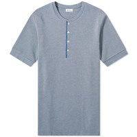 Schiesser Ernst Striped Short Sleeve Henley Blue