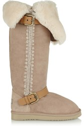 Mou Shearling Knee Boots Nude