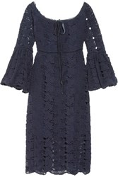 W118 By Walter Baker Lacy Off The Shoulder Velvet Trimmed Cotton Guipure Lace Dress Navy