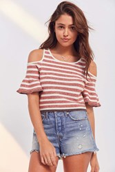 Kimchi And Blue Striped Cold Shoulder Cropped Sweater Red Multi