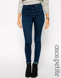 Asos Petite Ridley High Waist Ultra Skinny Jeans In Dark Tint Wash Blue