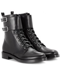 Gianvito Rossi Lagarde Leather Combat Boots Black