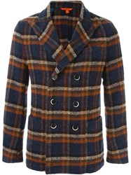 Barena Double Breasted Check Jacket Blue