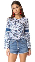 Tanya Taylor Leaf Ikat Plaid Martine Top White Electric Blue
