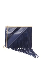 Diane Von Furstenberg Soiree Tuxedo Flap Patchwork Fringe Bag Dark Night Multi