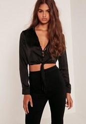 Missguided Button Front Satin Tie Crop Blouse Black