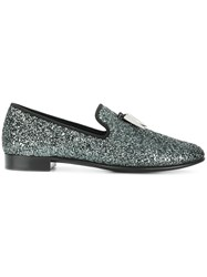 Giuseppe Zanotti Design Sabre Tooth Glitter Loafers Grey