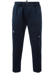 Dsquared2 Cropped Distressed Trousers Blue
