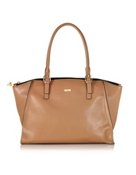 Pinko Mais Brown Saffiano Leather Shopping Bag