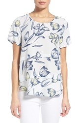 Women's Pleione Short Sleeve Tiered Top Beach Glass Lemon Ink