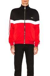 Givenchy Track Jacket In Black Red Stripes White Black Red Stripes White