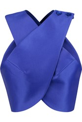 Carven Satin Twill Wrap Top Blue