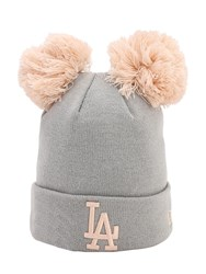 New Era Double Pompom La Dodgers Knit Beanie Grey