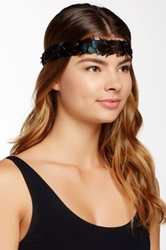 Cara Accessories Feather Ribbon Stretch Headband Green