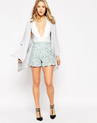Love Culotte Shorts In Ditsy Floral Print Blue Floral