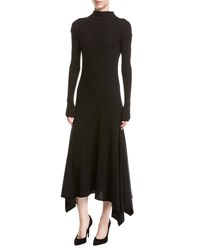 Theory Rib Knit Panel Handkerchief Hem Sweater Dress Black