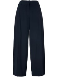 Aspesi Pleat Front Cropped Trousers Blue