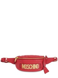 Moschino Logo Grained Leather Belt Bag Red