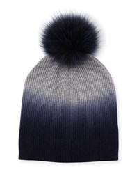 Bergdorf Goodman Ribbed Dip Dyed Cashmere Beanie Hat Navy