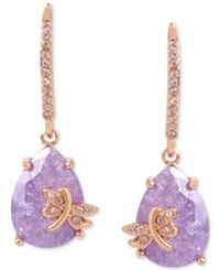 Betsey Johnson Rose Gold Tone Lavender Stone Dragonfly Drop Earrings