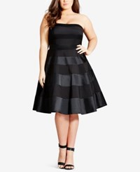 City Chic Trendy Plus Size Satin Stripe Party Dress Black