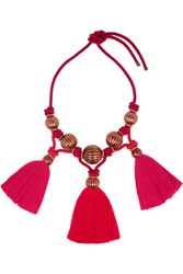 Lanvin Tassled Enameled Bead Necklace Red
