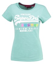 Superdry Premium Goods Rainbow Print Tshirt Foam Green Mint