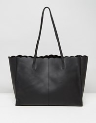 Asos Scallop Leather Shopper Bag With Removable Clutch Black