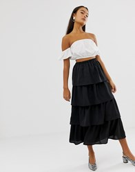Soaked In Luxury Tiered Midi Skirt Black