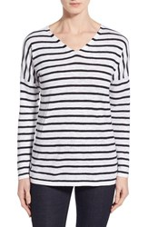 Women's Eileen Fisher Stripe Organic Linen And Cotton V Neck Sweater White Black