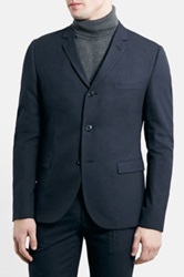 Topman Slim Fit Navy Pinstripe Suit Jacket Blue