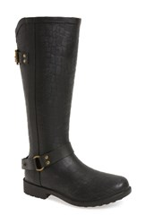 Chooka Women's Brindle Textured Moto Rain Boot