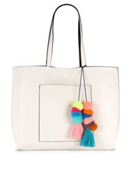 Design Lab Lord And Taylor Reversible Mulicolored Tote Chambray