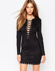 Missguided Eyelet Lace Up Detail Bodycon Dress Black
