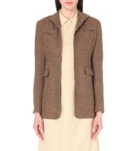 Cherevichkiotvichki Slim Fit Silk And Cotton Blend Blazer Brown