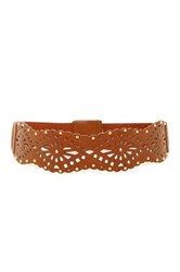 Betsey Johnson Perforated Elastic Waist Belt Brown