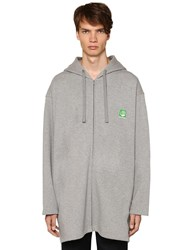 Balenciaga Green Logo Cotton Sweatshirt Hoodie Grey