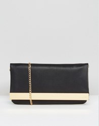 Aldo Fold Over Clutch Bag With Chain Black