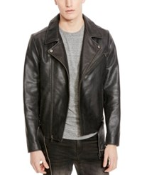 Kenneth Cole New York Men's Leather Moto Jacket Black