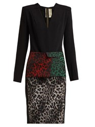 Roland Mouret Jalore Leopard Print Cady Dress Black Multi