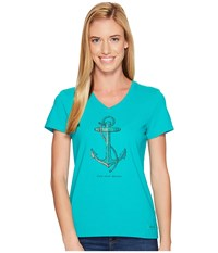 Life Is Good Find Your Anchor Crusher Vee Bright Teal Women's T Shirt Blue