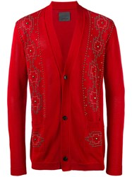 Laneus Embellished Cardigan Red