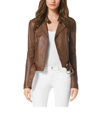 Michael Kors Leather Moto Jacket Luggage