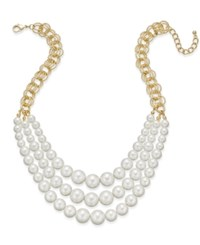 Charter Club Gold Tone Multi Layer Imitation Pearl Statement Necklace